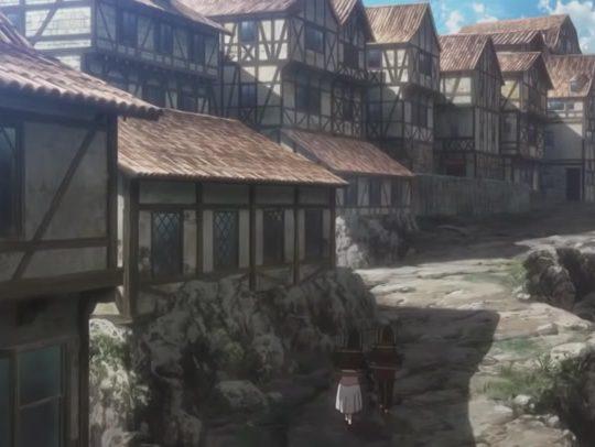 La Norimberga di Attacco dei Giganti: scena dal primo episodio