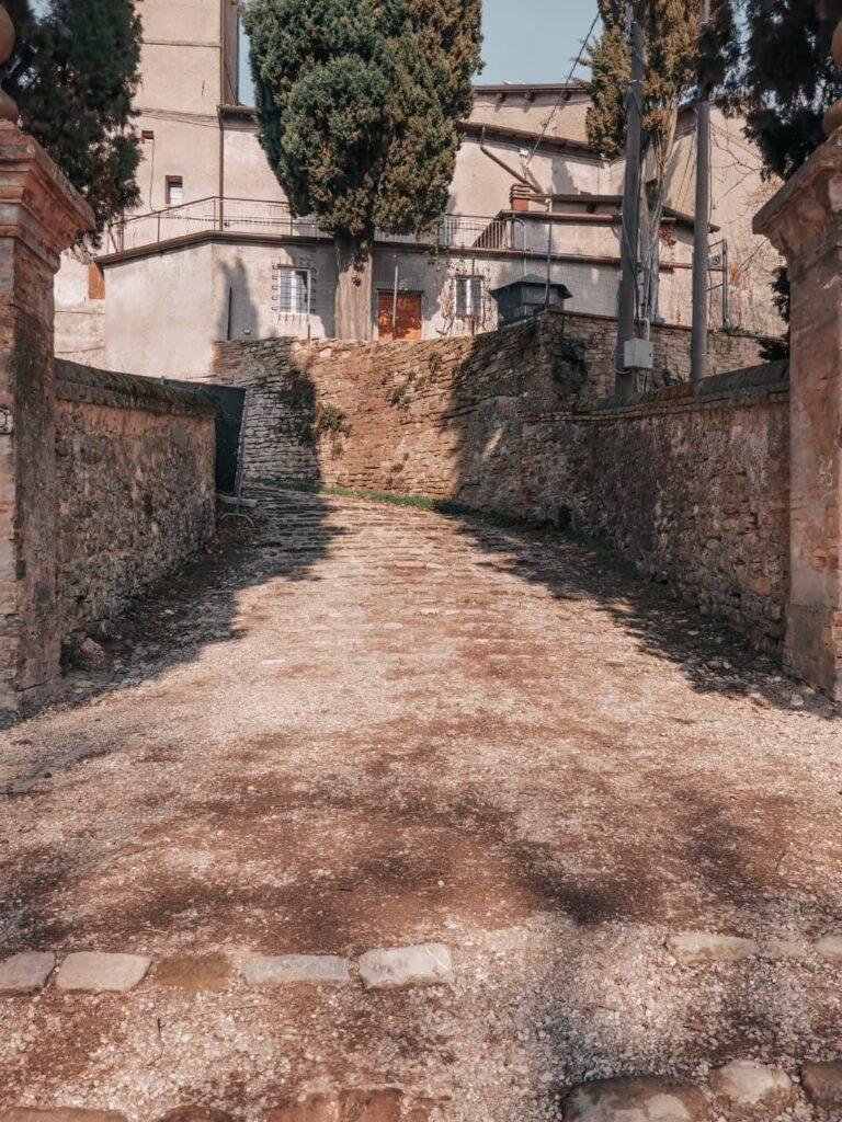 strada di accesso al castello di montegibbio