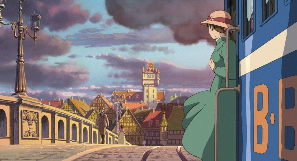 La città nel castello errante di Howl, Sophie sul tram