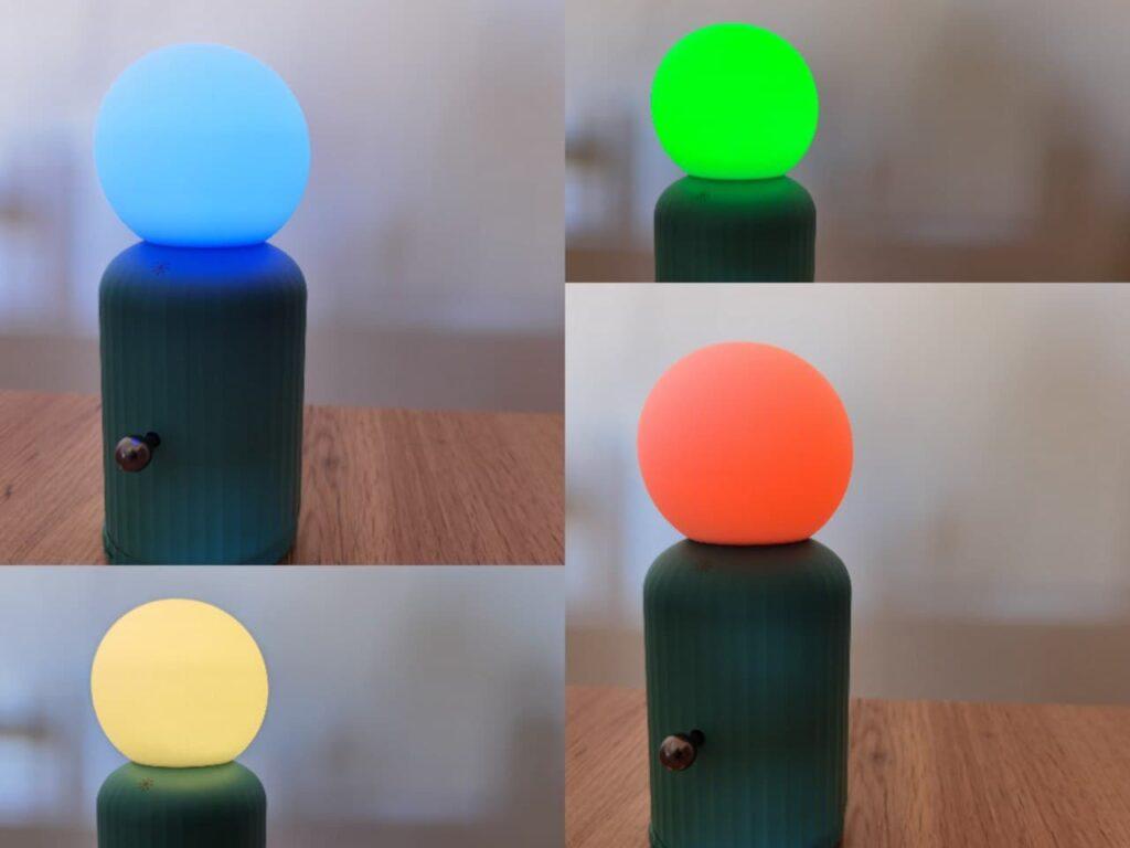 collage con le varie colorazioni della lampada di Candyslab