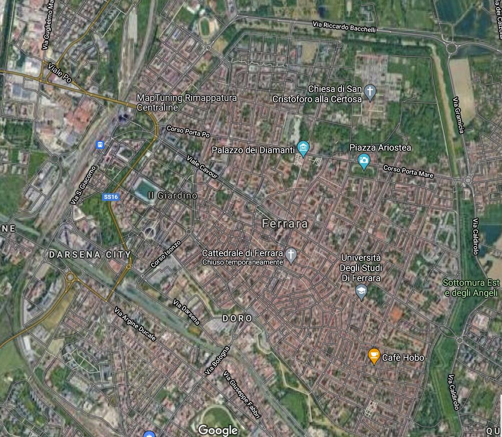 il percorso delle mura di ferrara viste da google maps